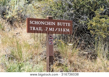 Sign For The Schonchin Butte Trail Trailhead In Lava Beds National Monument In California