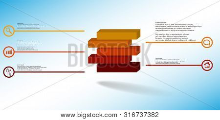 3D Illustration Infographic Template With Embossed Cube Divided To Five Shifted Parts