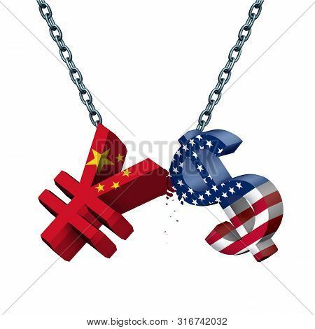 China United States Currency War As A Chinese Yuan Symbol In Conflict With The American Dollar Icon
