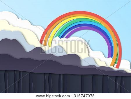 Thunderclouds. Rain On The Ground, Downpour. Above The Clouds A Rainbow In The Blue Sky. Layered Des