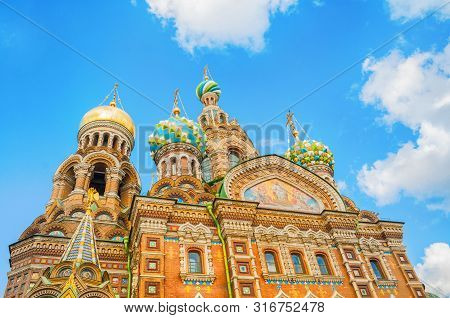 St Petersburg, Russia - Cathedral Of Our Savior On Spilled Blood, Closeup Of Domes And Architecture