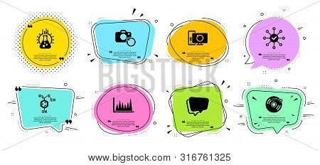 Vinyl Record, Survey Check And Chemical Formula Line Icons Set. Chat Bubbles With Quotes. Recovery P