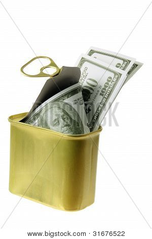 Dollar Notes In Tin Can