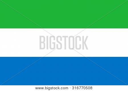 Sierra Leone National Flag. Vector Flag Of Sierra Leone. Freetown