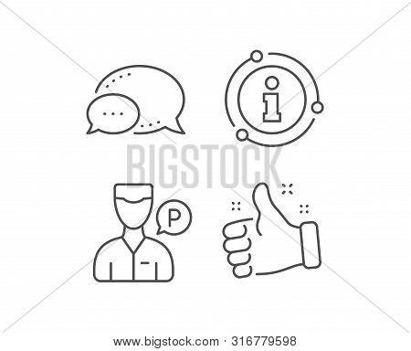 Valet Servant Line Icon. Chat Bubble, Info Sign Elements. Parking Person Sign. Transport Park Servic