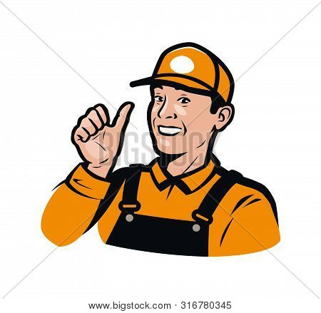 Funny Farmer. Farm, Agriculture, Farming Logo Or Label. Vector Illustration