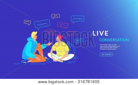Casual Friends Talking And Smiling Together. Gradient Vector Illustration Of Young Teenage Couple Ar
