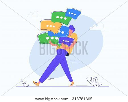 Young Man Carrying Heavy Speech Bubbles Of His Online Chat Or Conversation. Flat Modern Concept Vect