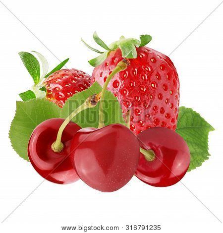 Fresh Red Berries Isolated On White Background