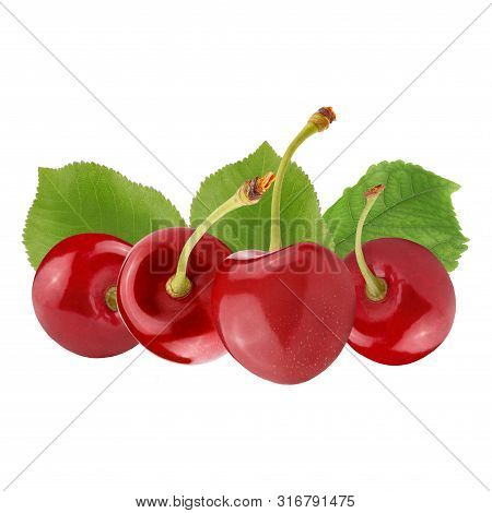 Fresh Red Cerries Isolated On White Background
