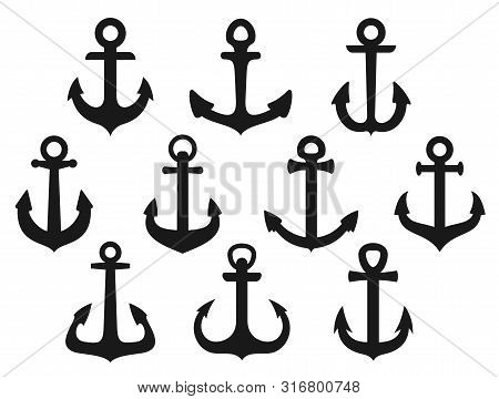 Nautical Anchor Black Silhouettes Vector Design. Sea Ship And Marine Sailboat Anchor Isolated Icons.