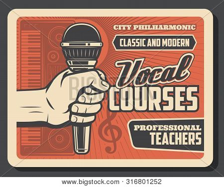 Vocal Courses And Choir Lessons Vector Design Of Hand With Microphone And Synthesizer, Musical Notes