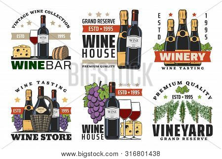 Wine Shop And Winery Vector Icons With Wine Bottles, Glasses And Grapes, Champagne, Cheese, Bread An