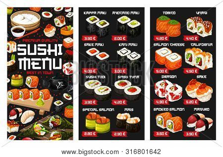 Sushi Menu Vector Template Of Japanese Cuisine Seafood And Rice Dishes. Asian Salmon And Tuna Sushi