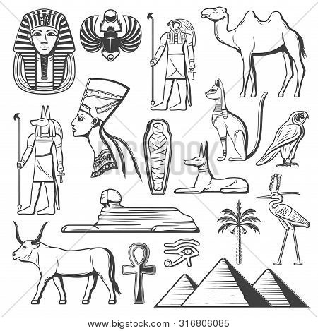 Ancient Egypt Symbols Of Egyptian Religion And Culture Vector Design. Pharaoh Pyramid, Mummy And Sph