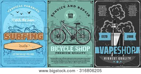 Surfing Sport Club, Bicycle Shop And Vape Store Vector Design With Surfing Board, Bike And Electroni