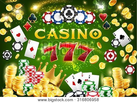 Casino Chips And Poker Playing Cards 3d Vector Design Of Gambling Game. Jackpot Winner Combination O