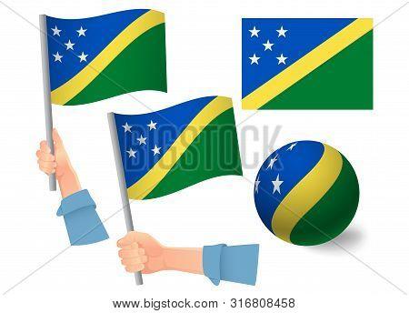 Solomon Islands Flag In Hand Set. Ball Flag. National Flag Of Solomon Islands Illustration