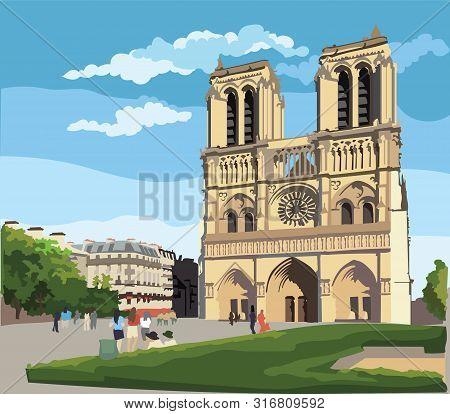 Colorful Vector Illustration Of Notre Dame Cathedral (paris, France). Landmark Of Paris. Cityscape W