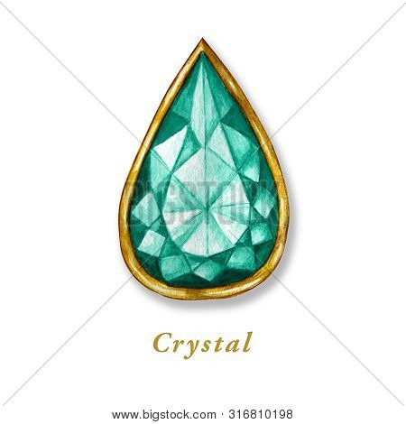 Drop Crystal In A Gold Frame. Hand Drawn Watercolor Diamond. Isolated Luxury Object On White Backgro