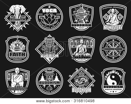 Buddhism Religion And Yoga Icons With Vector Buddhist Symbols. Buddha, Tibetan Monastery Prayer Whee