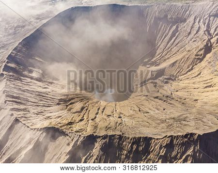 Aerial View On The Crater Of The Bromo Volcano At The Bromo Tengger Semeru National Park On Java Isl