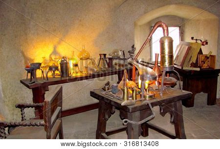 Old Medieval Alchemist Laboratory Objects & Measuring Devices. Instruments, Retro Equipment Of Old S