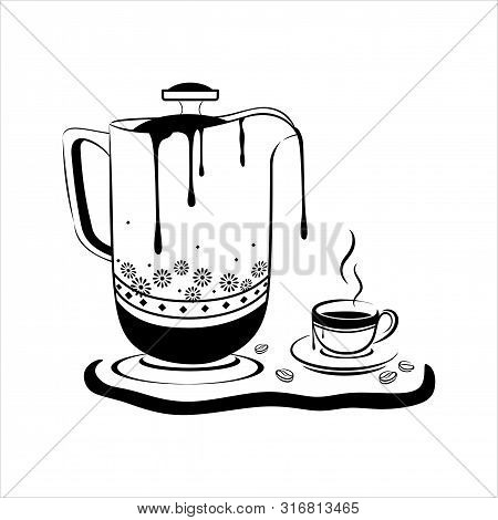 Coffee Concept & Teapot With White Background, Espresso In Cafe, Breakfast. Vector Illustration Of D