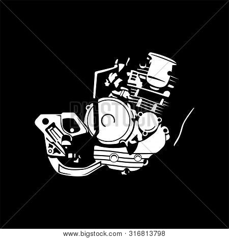 A Set Of Images Of Internal Combustion Engines Of Motor Vehicles, Motorbikes. Can Be Used To Illustr