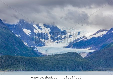 Whittier Glacier above the Town of Whittier in Prince William Sound of Alaska