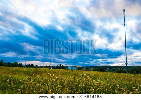 Landscape with the image of country side at sunset