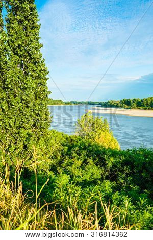 Landscape with the image of Po river bank in Italy