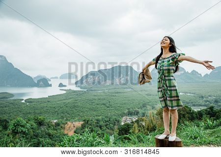 Phang Nga Province, Thailand. - May 2019 : Lonely Girl With Famous Landscape View Point In Southen O