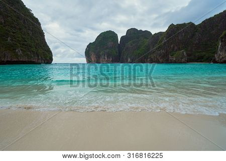 Ao Maya Bay On Cloudy Day During Monsoon Season.