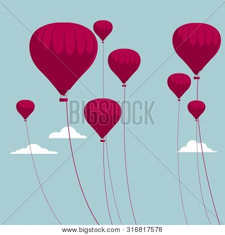 Vector Drawn Hot Air Balloon. The Background Is Blue.