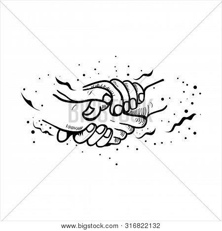 Shake Hands Flat Vector Symbols, Signs, Outline Illustrations. Shaking Hands Flat Vector Illustratio