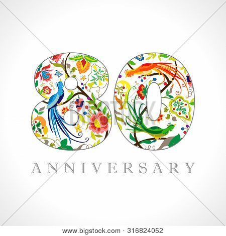 80 Years Old Logotype. 80 Th Anniversary Numbers. Decorative Symbol. Age Congrats With Peacock Birds