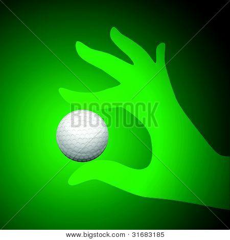 Vector Golf Ball in Hand Illustration