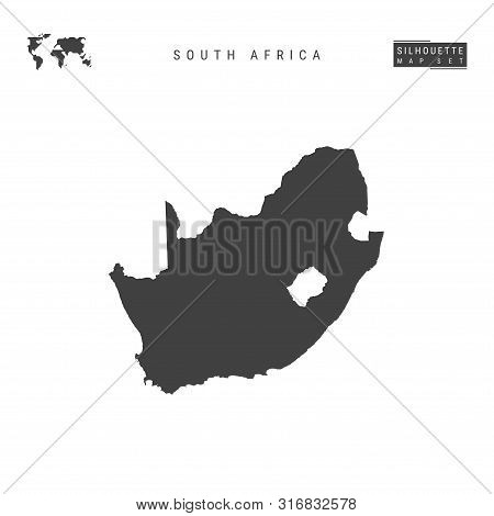 South Africa Blank Vector Map Isolated On White Background. High-detailed Black Silhouette Map Of So