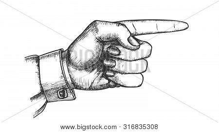 Female Hand Pointer Finger Showing Gesture Vector. Woman Index Finger Arrow Suggesting Direction Cou