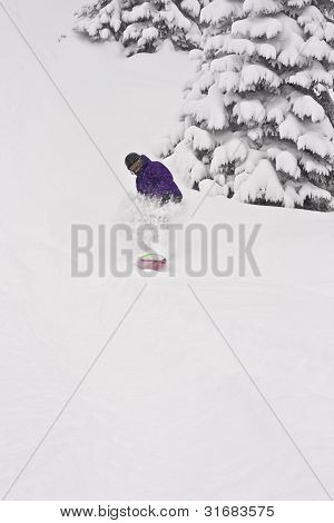Deep Powder Snowboarder