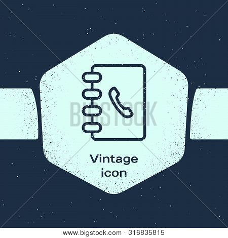 Grunge line Address book icon isolated on blue background. Notebook, address, contact, directory, phone, telephone book icon. Monochrome vintage drawing. Vector Illustration poster