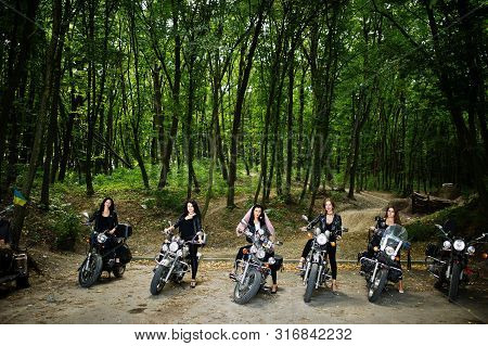 Ukraine, Tarnopol - September 8, 2018: Group Of Young Girls At Hen Party On Choppers And Wear Black