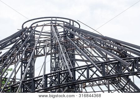 Steel Construction Roof In Process, Real Estate Engineering And Architechture.