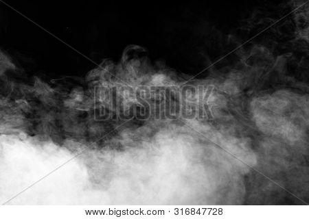 Smoke On Black Background. White Smoke Texture