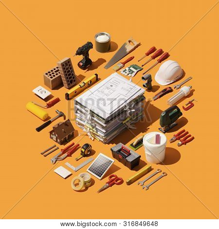 Home Renovation, Remodeling And Diy: Pile Of Paperwork And House Project With Isometric Tools And Eq