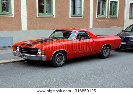 Vimmerby, Sweden - August 1, 2019: Chevrolet El Camino Ss Tribute Parked By The Side Of The Road. No