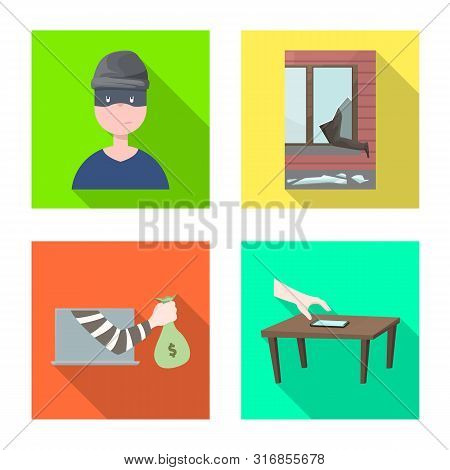 Vector Design Of Crime And Steal Symbol. Collection Of Crime And Villain Stock Vector Illustration.
