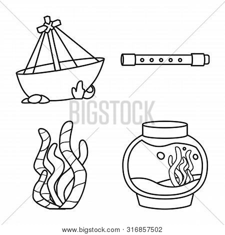 Vector Design Of Fishbowl And Accessory Sign. Set Of Fishbowl And Care Stock Symbol For Web.