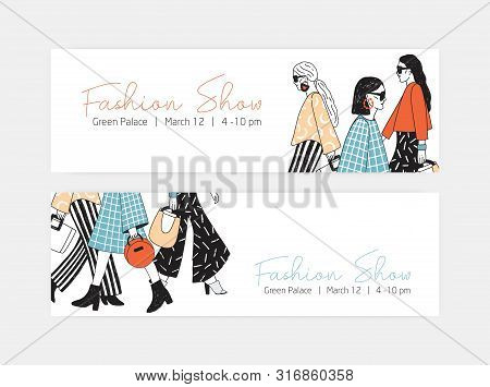 Bundle Of Web Banner Templates For Fashion Show With Women Wearing Trendy Haute Couture Clothing And